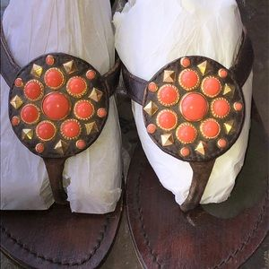 Mystique Brown Orange Gold Jewel Sandals Sz. 6